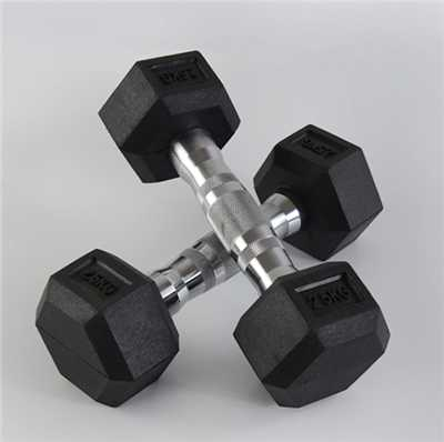 Black Hex Rubber Dumbbell