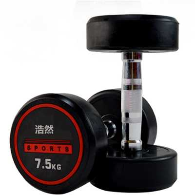 gym equipments round head rubber encased dumbbell
