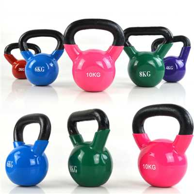 Multi-color plastic-coated cast iron kettle bell